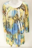 SIMPLY IRRESTIBLE MultiColor Floral Pattern 3/4 Sleeve Pleated Women's Size M