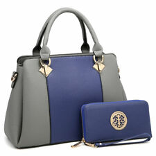 Women Medium Satchel Handbag Shoulder Bag + Matching Wallet Purse Golden Accents