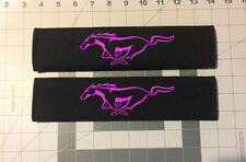 Custom Embroidered Ford Mustang Design Black Seat Belt Cover Set New Item!