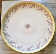 "Large 12.5"" T&V 1907-1919 Limoges France Depose Lilacs & Yellow Charger"