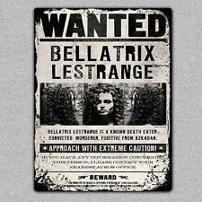 Metal Bellatrix Lestrange Wanted Sign/Plaque A5 Size UK MADE Harry Potter