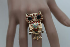 New Women Gold Metal Ring Fashion Jewelry Elastic Band Owl Bird Red Rhinestones