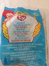 Ty teenie beanie baby Mc Donalds ROCKET The BLUE JAY  #5 Toy Animal  1999