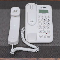White Corded Phone Caller Home Office Desk Wall Mount Landline Telephone US