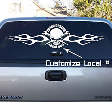 36X9 union flaming skull spud wrench ironworker customizable vinyl decal sticker