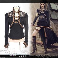 Steampunk aristocrat lace trim floral embossed blouse w/ choker B【JRSP156】