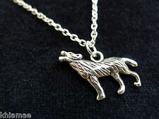 """Wolf Pendant 18"""" silver plated chain wicca pagan jewellery totem animal spirit"""