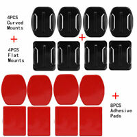 16pcs for GoPro 4 Flats & 4 Curved Mounts & 8 Adhesive Sticky Sticker Pads DL5