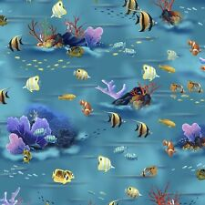 Dolphin Island SCENIC Sea Coral Reef Tropical Fish Fabric By the FQ - 1/4 YD