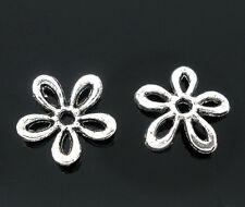 PD: 100 Antik Silber Blumen Spacer Perlen Endkappen Für Schmuck DIY 11x11mm