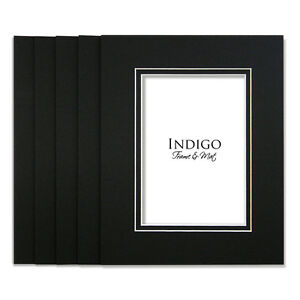 SET OF 10 - 5x7 Black Double Mats to fit 3.5x5 sized photos or art.