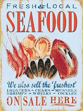 Seafood, Fresh Local Food, Cafe Restaurant Fish Seaside, Small Metal Tin Sign