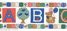 Country Patchwork Teddy Bear ABC Nursery Kids School Classroom Wall paper Border