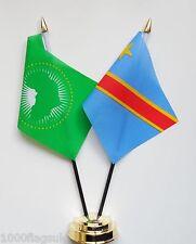 Union Africaine & Congo Kinshasa Double Amitié Table Drapeau Ensemble