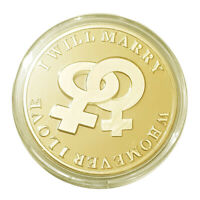 Clearance Sale Same Sex Marriage Lesbian Female 1oz Gold layer Proof Silver Coin