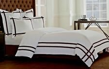Wamsutta MONTENEGRO King Duvet Cover WHITE w BROWN Trim 100% Cotton NEW IN POUCH