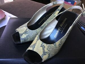CHARLES JOURDAN snakeskin leather heeled slingbacks size 7B made in France