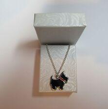 NUOVO Terrier Scozzese Cane socttie Ciondolo su una collana d'argento placcata in confezione regalo