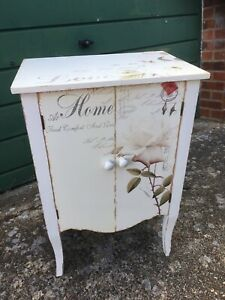 Mdf wood storage Cupboard cabinet White painted floral shabby chic 2 door shelf