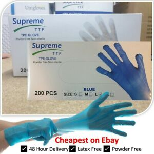 200 - 2000 x TPE Disposable Gloves - 100% Recyclable Thick Latex Free Vinyl Free