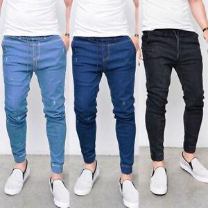Mens Skinny Cuffed Jogger Jeans Elasticated Denim Pants Solid Slim Fit Bottoms