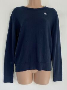 ABERCROMBIE & FITCH navy blue crewneck jumper size age 13 14 years