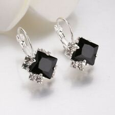 Fashion Womens 925 Silver Crystal Hoop Dangle Earrings Wedding Jewelry Gift