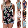 Womens Floral Sleeveless T Shirt Casual V Neck Tops Summer Boho Tank Top Blouse