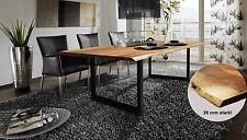 Baumkantentisch Akazie Esstisch Massivholz 26 mm Stark Beine Schwarz 180x90 cm