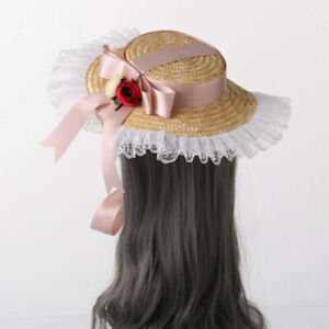 Women Straw Hat with Big Bowknot Casual Wedding Cocktail Party Sun Hat Big Brim