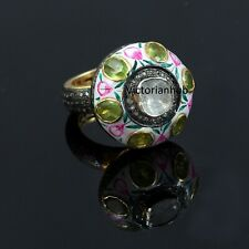 925 Sterling Silver Rose Cut Diamond Polki Peridot Gemstone Anniversary Ring