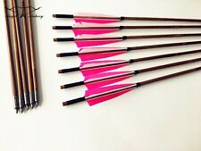 12pcs pink bamboo arrow shield feathers For Archery Hunting longbow 28-33inch