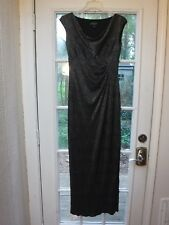 Lauren Ralph Lauren Silver Shiny on Black Cowl Neck Evening Dress Women 2 *EX*