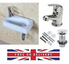 Square Small Mini Cloakroom Bathroom Basin Sink Wall Hung Left Hand 41x21 + Tap