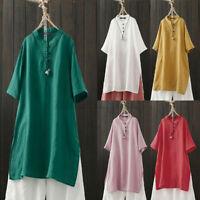 ZANZEA 8-24 Women Plain Basic Long Tunic Blouse Tee T Shirt Short Sleeve Top