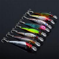 Lot 8pcs Minnow Fishing Lure Crank Bait Hooks Bass Crankbait Tackle 9.2cm/7.5g