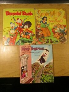 3 WALT DISNEY TELL-A-TALE BOOKS SNOW WHITE, MARY POPPINS, DONALD DUCK 1957-63