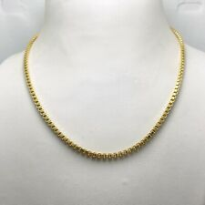 """15.5"""" Hollow 14k Yellow Gold Thick Box Chain Necklace Italy (9726)"""