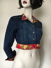 Baby Phat,Blue denim,Red Yellow,Floral/Leopard Satin Trim,Short Jacket,UK8