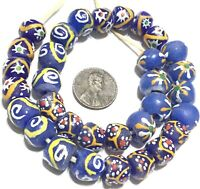 Mixed Ghana Blue recycled glass Short strand African Trade beads-Ghana