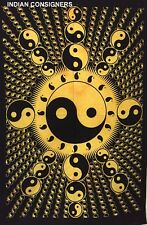 Cotton Decor Ying Yang Wall Hanging Small Poster Tapestry Yellow Color Bohemian