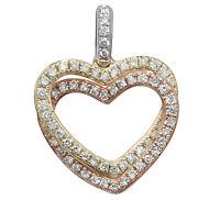 Heart Pendant Diamond Three Colour Gold Necklace Appraisal Certificate
