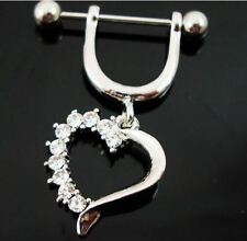 Clear heart nipple ring Pair jewelry rhinestone stainless steel shield dangle