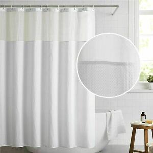 •BedsureElegant FabricShowerCurtain w/Hooks-White Waffle Weave-Hotel Quality