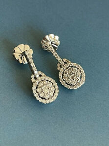 18ct White Gold Diamond Earrings 1.20ct Round Halo Cluster Studs 1ct +
