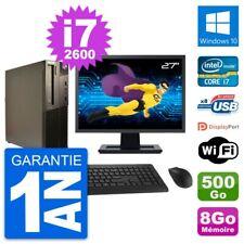 "PC LENOVO M82 SFF Screen 27 "" Intel i7-2600 RAM 8Go Disk 500Go Windows 10 Wifi"