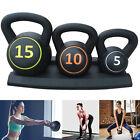 3Pcs Kettlebell Set Kettlebells Weight Weights Exercise Gym Home + Rack Stand