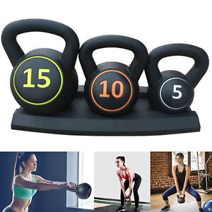 3Pcs Kettlebell Set Kettlebells Weight Weights Exercise Gym Home + Rack Stand