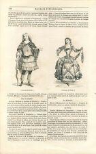 Mode Louis XV Costume d'Adonis Robe de Plaisir Bal Ruisseau Heure GRAVURE 1842