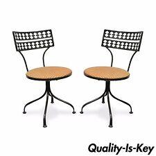 Pair Gallo Original Mid Century Modern Wrought Iron Swivel Chairs Salterini Styl